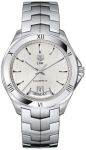 The 42 mm copy TAG Heuer Link WAT2013.BA0951 watches have silvery white dials.