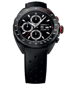 The comfortable replica TAG Heuer Formula 1 CAZ2011.FT8024 watches have black rubber straps.