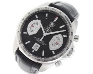 The 43 mm copy TAG Heuer Grand Carrera CAV511A.FC6225 watches have black dials.