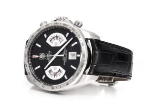 The well-designed replica TAG Heuer Grand Carrera CAV511A.FC6225 watches have black leather straps.