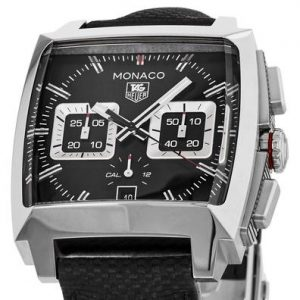 The 40.5 mm fake TAG Heuer Monaco CAL2113.FC6536 watches have black dials.