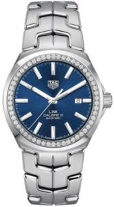 The 41 mm copy TAG Heuer Link WBC2113.BA0603 watches have blue dials.