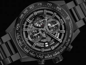 The skeleton dials replica TAG Heuer Carrera Heuer-01 CAR2A91.BH0742 watches have date windows.