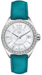 The blue leather straps fake TAG Heuer watches have white mother-of-pearl dials.