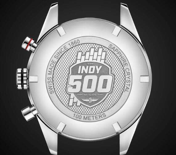 The pattern on the caseback embodies the relationship between the watch brand and Indy 500.