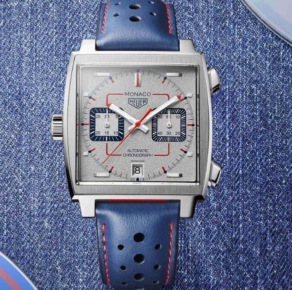 The red and blue elements on the timepiece are eye-catching.