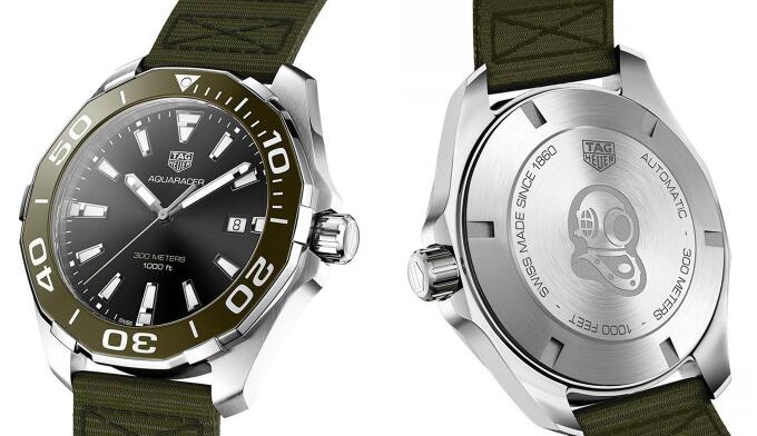 The green bezel endows the timepiece with eye-catching appearance.