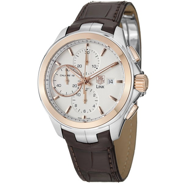 The brown strap fake watch has silvery dial.