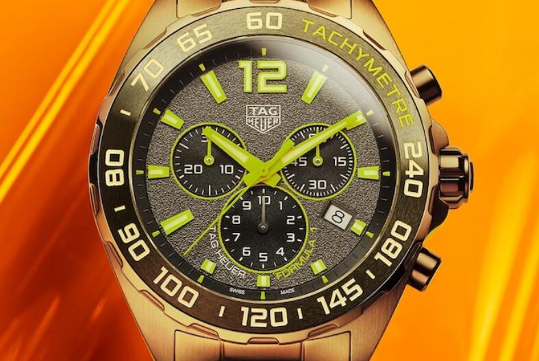 Hot sale fake watches are adorned with yellow color.